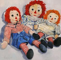 "*RAGGEDY ANN & ANDY ~ At Rest  24"" x 24"". Artist unknown."
