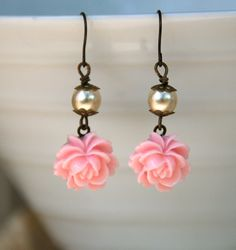 Romantic pink rose earrings. Tiedupmemories. 9.00, via Etsy.