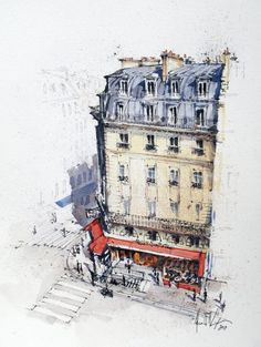 Watercolor Architecture, Architecture Sketchbook, Architecture Artists, City Drawing, Drawing Sketches, Drawings, Fall Background Wallpaper, Watercolor Inspiration, City Sketch