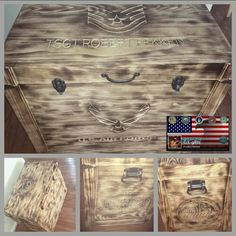 Burnt pine Air Force trunk with shadowbox  inside. www.gigifts.net