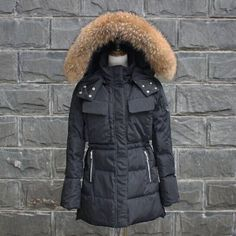 TOP Quality Large Real Fur 2016 Winter Jacket Women Raccoon Fur Collar Hooded Thick For Womens Jackets And Coats Winter Parka