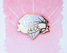 Serif Bride Enamel Lapel Pin  white  gold  cloisonne pin  bridal shower gift  bachelorette party  wedding