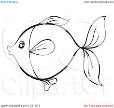 Cartoon Of A Black And White Sketched Fish Outline 2 - Royalty ...