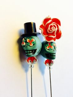 """Sugar Skull Rose Day of the Dead 6"""" Stick Pin Scarf Pin or Cake Toppers in Turquoise and Red by PennysLane on Etsy"""