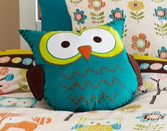 Woodland Creatures Shaped Filled Cushion, Owl, Green, Orange, Brown, 27cm x 35cm approx.: Amazon.co.uk: Kitchen & Home