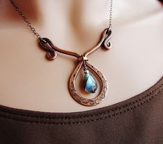 Copper and Labradorite teardrop by Ruth Jensen