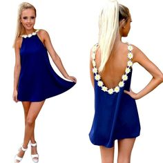 HP!! backless mini dress Midnight blue backless dress with cute flowers around the back Dresses Mini