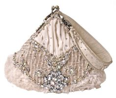 """""""Premier Class"""" pastel pink evening bag with rhinestones by Mary Frances from Victorian Trading Co. Fashion Handbags, Purses And Handbags, Mary Frances Handbags, Trendy Purses, Beautiful Handbags, Beautiful Bags, Glam And Glitter, Romantic Outfit, Evening Bags"""