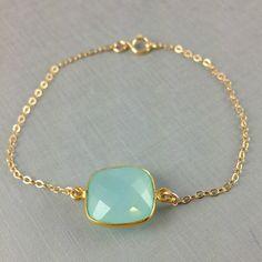 Aqua blue Chalcedony Bracelet, Cushion Cut, Bezel Gemstone Bracelet, Birthday Gift, Christmas Gift, Sister Gift, Best Friend Gift, Gold. $33.00, via Etsy.