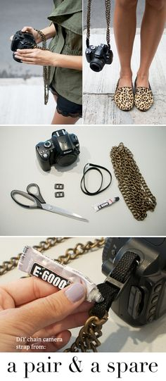 DIY chain camera strap - tutorial from a pair & a spare    here you go, they are called slip lock buckles and nylon webbing