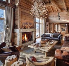 Great Fireplace for Great Room - Luxury Ski Chalet Meribel, France. Photo:©Leo Trippi Adore this cosy log cabin! Would be the perfect place to come back to after a day on the slopes. Chalet Chic, Chalet Style, Cabin Chic, Cozy Cabin, Chalet Design, Chalet Meribel, Chalet Interior, Cabin Interior Design, Cabin Interiors