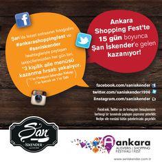 #AnkaraShoppingFest 'te 15 gün boyunca #şaniskender 'e gelen kazanıyor!  #ANKAmall #ankarashoppingfest #ankara #ankaraalışverişfestivali