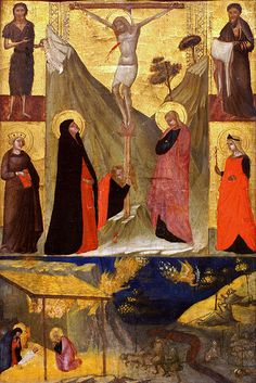Kreuzigung und Geburt Christi sowie Heilige (The Crucifixion, the Nativity and Saints)  AMBROGIO LORENZETTI (Siena, ca. 1290 – Siena, 1348)   #TuscanyAgriturismoGiratola