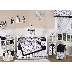 Sweet Jojo Designs Black and White Princess 9-piece Crib Bedding Set -on overstock - this would be cute with brightly colored accents and/or walls