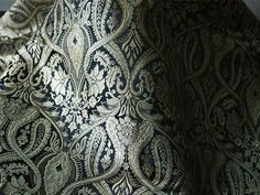 Silk Brocade Fabric Black and Gold Floral Pattern Weaving  - Indian Silk, Wedding Dress Fabric - Pure Banarasi Silk Fabric by 1 Yard