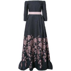 Carolina Herrera off-the-shoulder floral gown (28,150 MYR) via Polyvore featuring dresses, gowns, carolina herrera evening dresses, carolina herrera dresses, carolina herrera gowns, carolina herrera and carolina herrera evening gowns