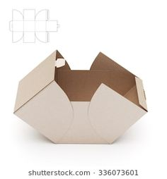 Empty Open Cube Box with Die Cut Template Cake Boxes Packaging, Soap Packaging, Box Design, Design Model, Package Design Box, Design Ideas, Paper Box Template, Origami Box, Craft Box