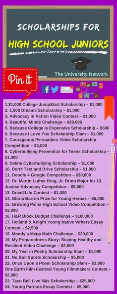 For High School Juniors Here is a selection of Scholarships For High School Juniors that are listed on TUN.Here is a selection of Scholarships For High School Juniors that are listed on TUN. High School Anime, High School Hacks, College Hacks, High School Junior, Senior Year Of High School, Middle School, Financial Aid For College, College Planning, Education College