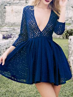 Shop Blue Plunge Neck Sheer Applique Skater Dress from choies.com .Free shipping Worldwide.$20.99