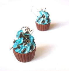 Mini Food Cupcake Earrings  polymer clay by InspirationsByNell, $11.00