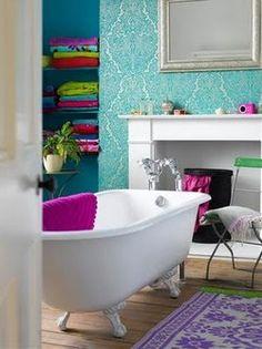 Colorful bathrooms are essential.