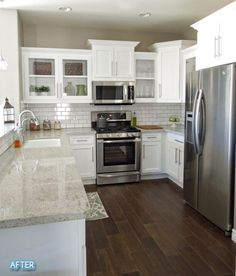 before after upgrading a builders grade kitchen little house big plans - U Shaped Kitchen