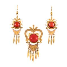 Victorian Gold and Coral Pin/Pendant & Earrings Suite Coral Earrings, Coral Jewelry, Ruby Jewelry, Pendant Earrings, Jewelry Sets, Jewellery, Antique Earrings, Antique Jewelry, Coral And Gold