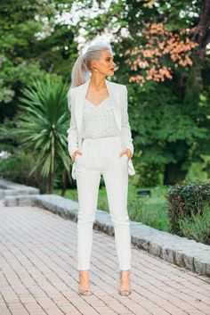 One wedding, five looks: inside Victoria Magrath's Provence nuptials One wedding, five looks: inside Victoria Magrath's Provence nuptials- HarpersBAZAARUK Wedding Suits For Bride, White Wedding Suit, Wedding Outfits For Women, Bride Suit, Outfits For Weddings, Wedding Looks For Guests, Womens Wedding Suits, Blue Weddings, Second Weddings