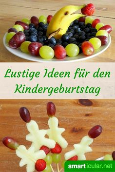Gesunde Snacks (nicht nur) für den Kindergeburtstag Getting kids excited about fruits and vegetables is not always easy. These craft ideas help, because even with children the eye eats too! Party Finger Foods, Snacks Für Party, Appetizers For Party, Healthy Halloween Treats, Healthy Snacks For Kids, Snack Mix Recipes, Healthy Recipes, Healthy Food, Food Art For Kids