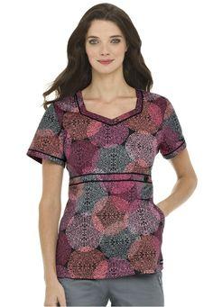 Landau Queens Lace print sweetheart neck scrub top. - Scrubs and Beyond #scrubs #uniforms