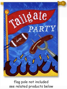 Tailgate Party Flag from Toland Home Garden applique flag collection.  @justforfunflags