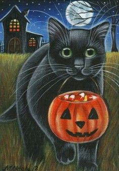 Halloween Black Cat going Trick or Treating with its Jack-o-Lantern pumpkin candy bucket full of candy corns Samhain Halloween, Halloween Items, Halloween Pictures, Holidays Halloween, Spooky Halloween, Vintage Halloween, Happy Halloween, Halloween Friday The 13th, Halloween Painting