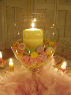 Center piece with beads or stones instead of candy hearts
