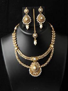 Indian Bollywood Fashion Jewelry Polki Kundan Dangle Necklace With Earrings Set #VGjewel