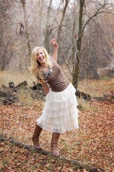 Cream Tiered Ruffle Skirt $22 Found on #veryjane via @Bella Ella Boutique