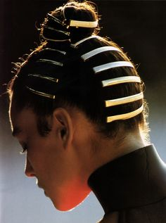 Hans Feurer for Elle magazine, August 1988 Elle Magazine, Hair Art, Your Hair, Hair Inspo, Hair Inspiration, Futuristic Hair, Diy Beauté, Runway Hair, Editorial Hair