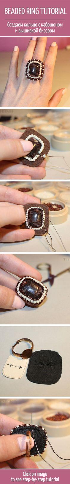 Beaded ring tutorial #handmade #art #design  /  Создаем кольцо с кабошоном и вышивкой бисером: