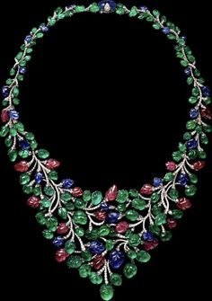 CARTIER. Necklace - Platinum, carved Sapphires, Emeralds, Rubies and brilliant-cut Diamonds. Étourdissant Cartier 2015 High Jewellery Collection
