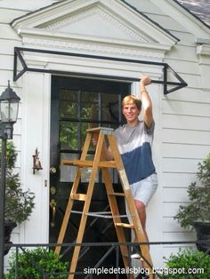 diy striped awning, curb appeal, diy, how to, DIY Black and White Striped Awning above our front door Mais Porch Awning, Diy Awning, Front Porch, Diy Exterior Awnings, Front Door Awning, Fabric Awning, Store Veranda, Door Overhang, Window Awnings