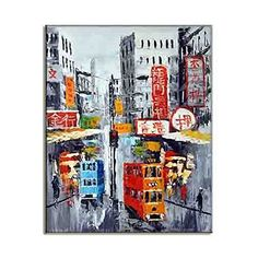 Amazing City Of Hong Kong Street Painting Asian Style HD Art Picture Quality Modern Wall Hangings Canvas Prints Classy Home Decor A 50x70cm  20x28inch *** Find out more about the great product at the image link.