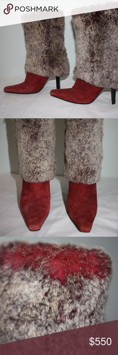 CHANNEL Fashion Leather & Fur Heel Boots Beautiful CHANEL Maroon/Redish Colored Calfskin Leather with Fur Lined Women's Boots size 38 1/2. Gently used (see photos) no major stains or damage, but does have some wear. Marked Channel brand on bottom of shoes and inside shoes. CHANEL Shoes Heeled Boots