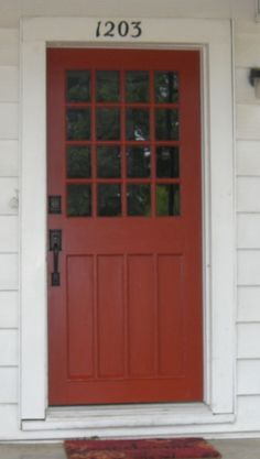 Sweet Home the door 054 -- sherwin williams fired brickthe door 054 -- sherwin williams fired brick Front Door Paint Colors, Painted Front Doors, Paint Colors For Home, Front Door Decor, House Paint Exterior, Exterior Paint Colors, Exterior House Colors, Exterior Doors, Entry Doors