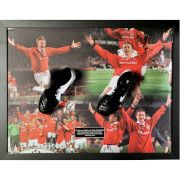 #All Star Signings Teddy Sheringham and Ole Gunnar Solksjaer Signed #With Manchester United™s dream of The Treble fading in Barcelona, two subs scored stunning last minute goals to win the Champions League final. Teddy Sheringham and Ole Gunnar Solskjaer both scored in stoppage time to propel Man Utd past the iconic German club Bayern Munich and win the game 2-1. One of the greatest last gasp victories in world football, Manchester United topped off an incredible season in 1998/99 where they…