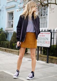 Stripes-Shirt-Suede-Skirt-Street-Style-Converse