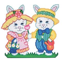 Bunny Couple Plastic Canvas Kit: Arts, Crafts