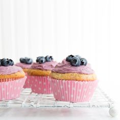 Vanilla Cupcakes with Homemade Chilean Blueberry Buttercream Frosting
