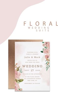 Alluring Roses Vintage Dusty Pink Floral Wedding Invitation Stationery Suite with Rose Gold Dusty Blush Pink Fresh Suite with Metallic gold Foil accents wedding Design wit. Pink Wedding Invitations, Wedding Invitation Templates, Wedding Stationery, Party Invitations, Floral Invitation, Rose Wedding, Diy Wedding, Wedding Suite, Spring Wedding