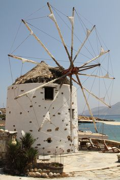 Greek windmill by Rosewood GIL Tilting At Windmills, Old Windmills, Lighthouse, Netherlands Windmills, Wind Mills, Natural Building, Romanesque, Le Moulin, Greek Islands