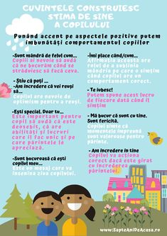 #Parenting #descarcă #Infografic #copii #părinți #educație Cuvintele construiesc stima de sine a copilului. Punând accent pe aspectele pozitive putem îmbunătăți comportamentul copiilor. Language Activities, Therapy Activities, Preschool Activities, Kids And Parenting, Parenting Hacks, Preschool At Home, Emotional Intelligence, School Counseling, Raising Kids