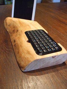 porta tablet, cellulare, e-book in legno d ulivo con mini tastiera rimovibile